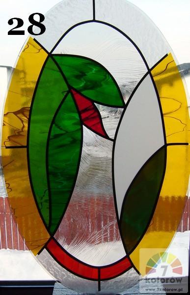 Witraż owal roślinny – model 28